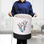 Big collapsible storage bins with rope handles monochrome giraffe with a person