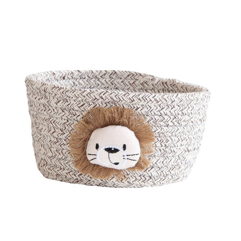Small cotton rope animal storage baskets in brown lion color
